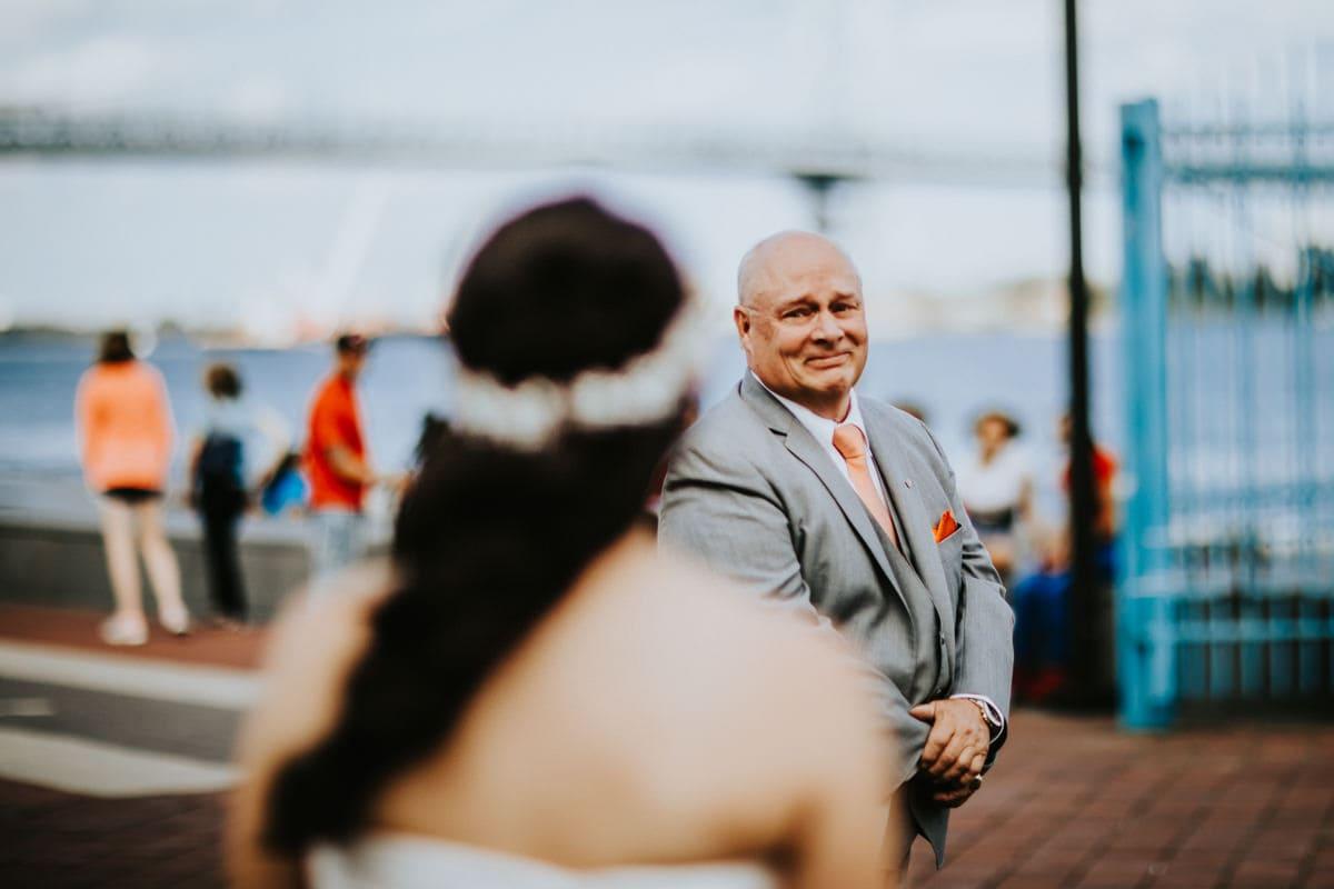 dad looks at daughter