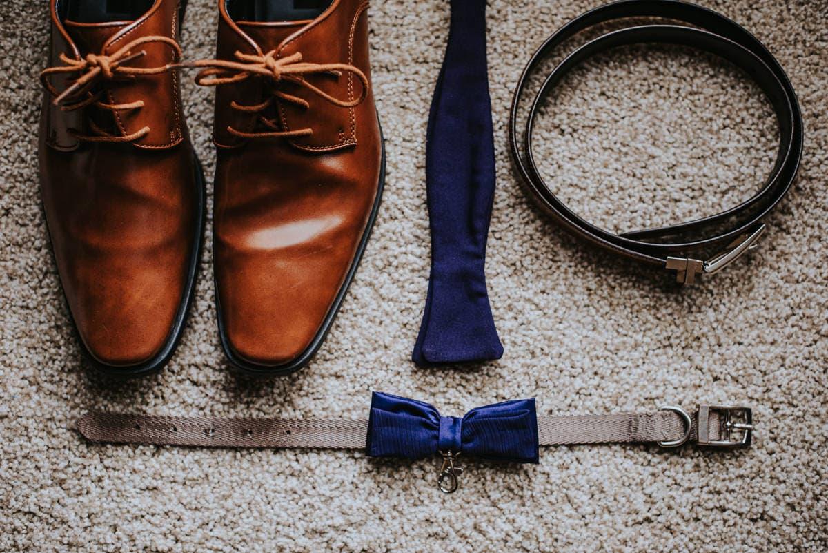 groom shoes, tie, belt
