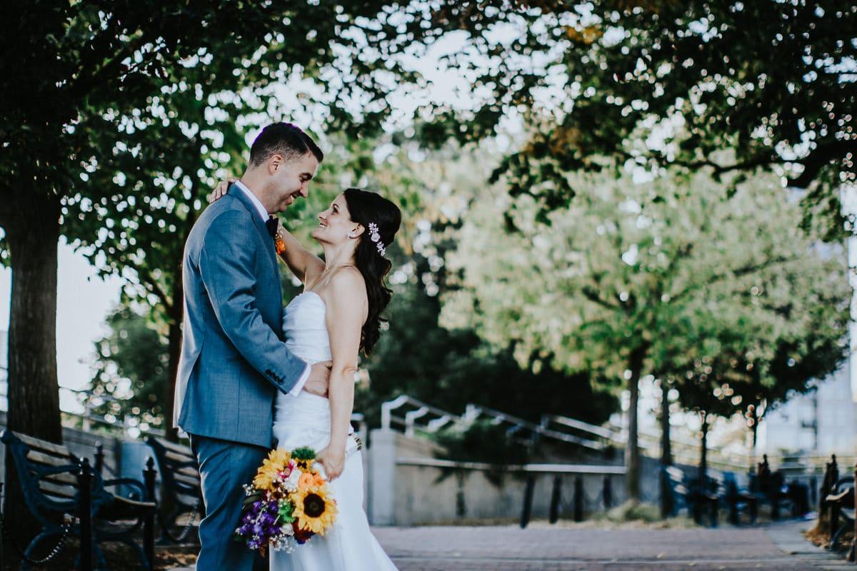 bride and groom on penns landing