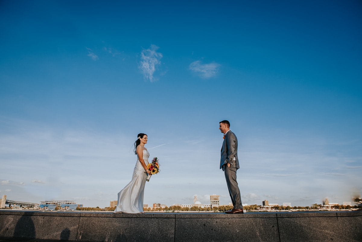 bride and groom on Delaware river