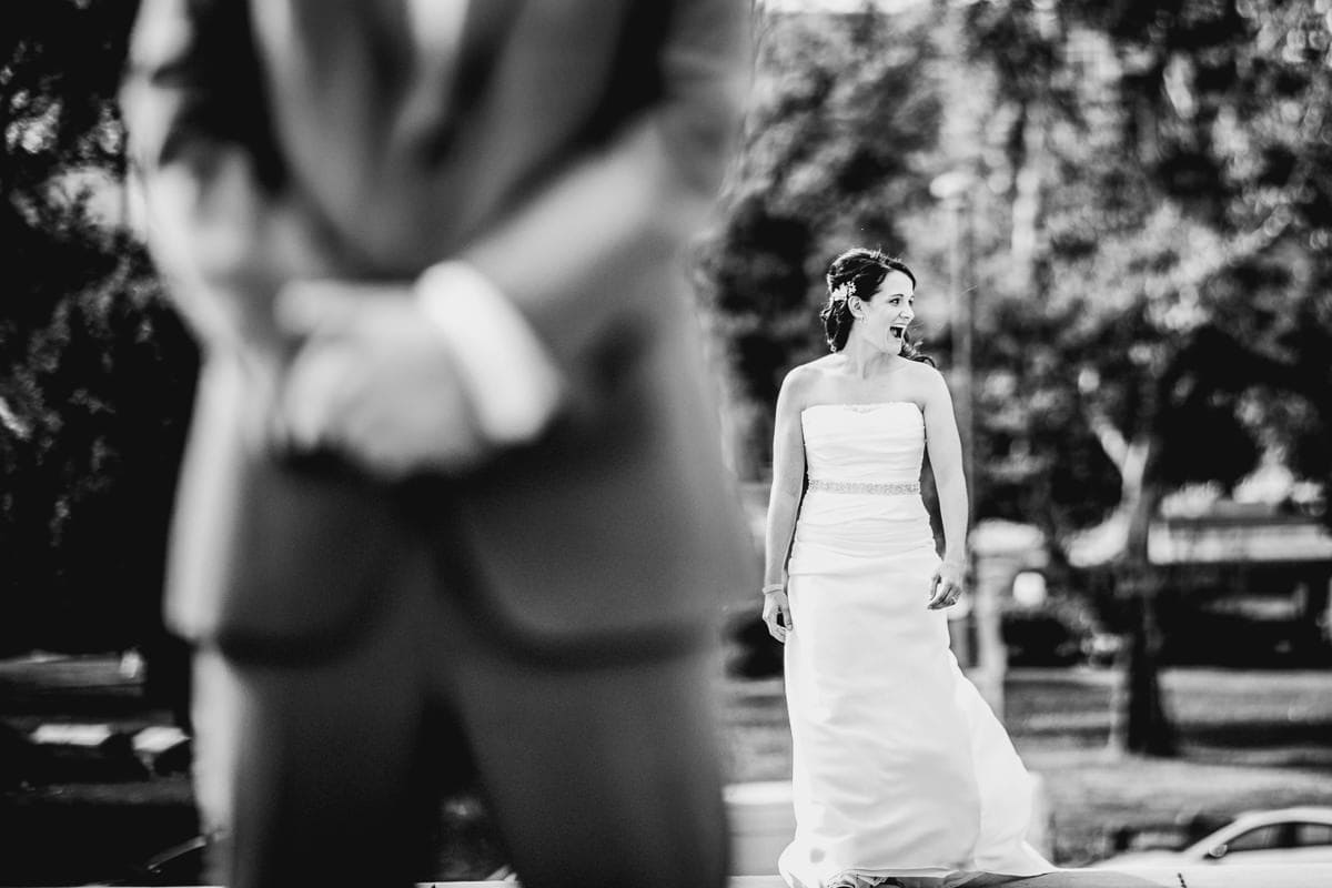 bride sees family