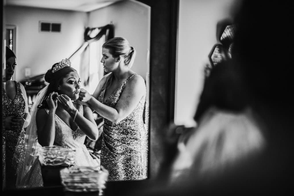 bride and groom prep photos
