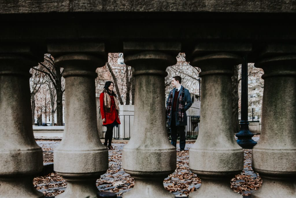 engagement photos at Rittenhouse square