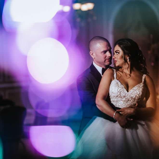 double exposure bride and groom photo
