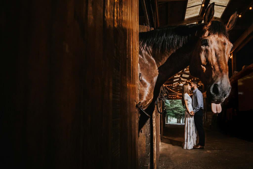 horse barn engagement photos