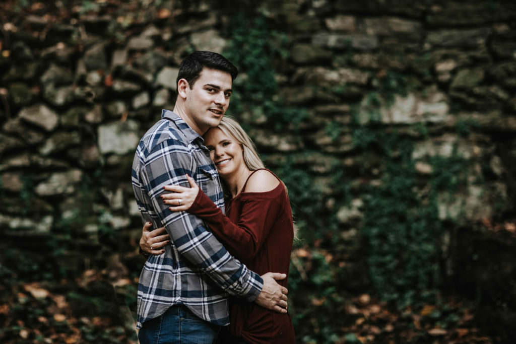Philadelphia engagement photos at Wissahickon state park and The Linc